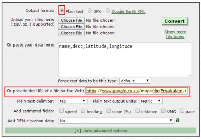 GPS Visualizer enter URL